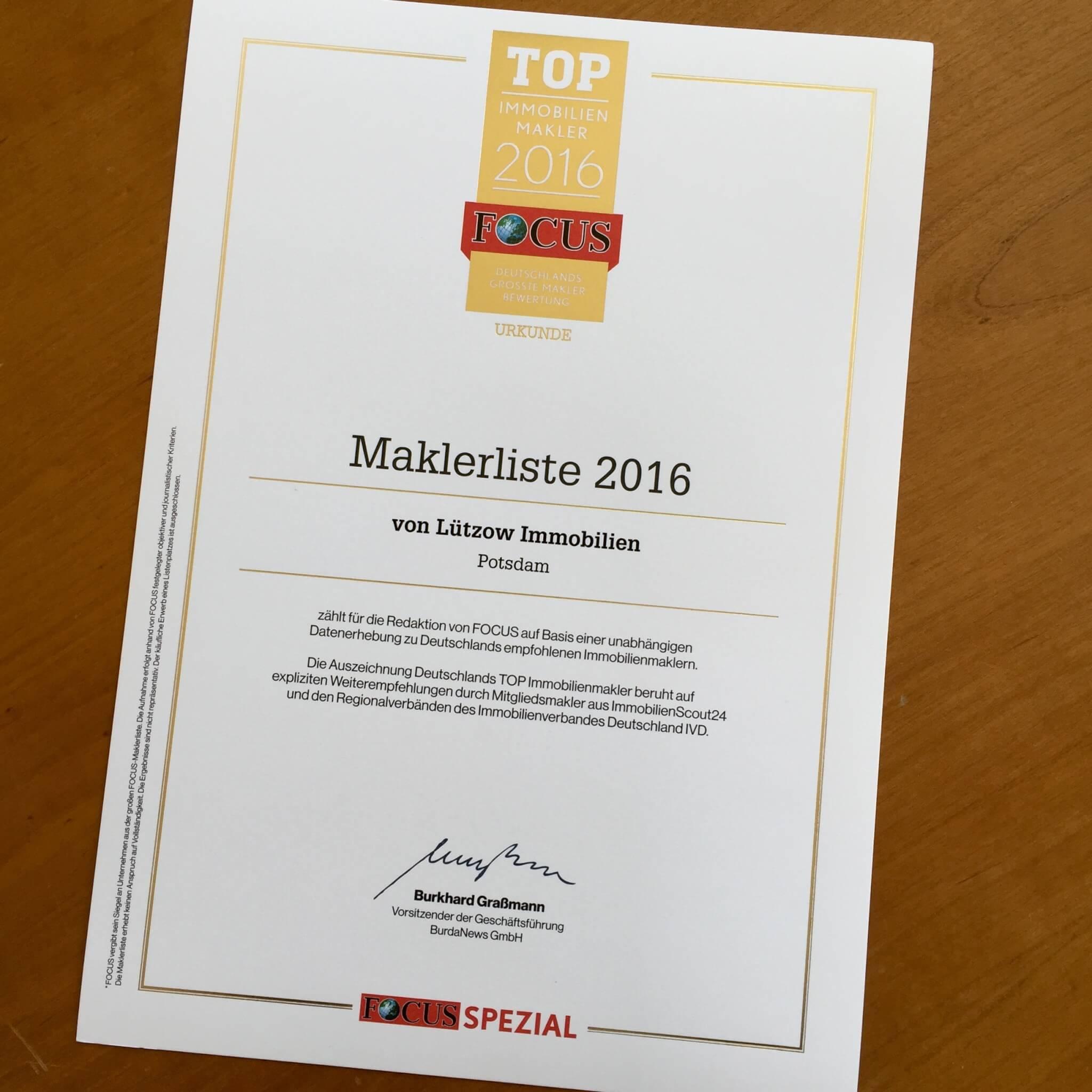 Urkunde Top Immobilienmakler 2016