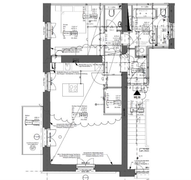 Traumhafte 2-Raum-Wohnung mit Sonnenterrasse und Küche, super Lage und Luxus Standard - Grundriss