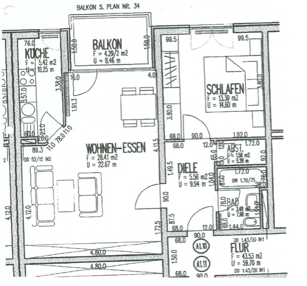 VERKAUFT - Vermietete Eigentumswohnung - 2-Raum-Wohnung, Balkon, Tiefgaragenstellplatz - Grundriss ETW