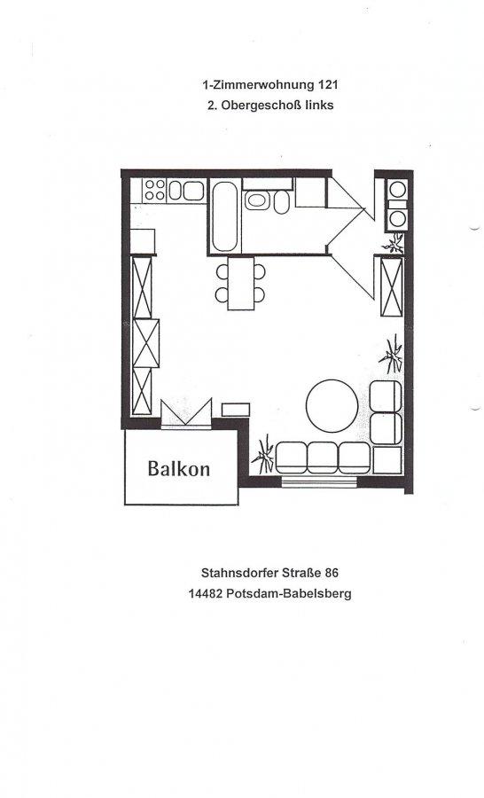 Rarität - Potsdam Babelsberg - 1-Raum-Wohnung mit Balkon, Einbauküche, Tiefgarage - vermietet - Grundriss