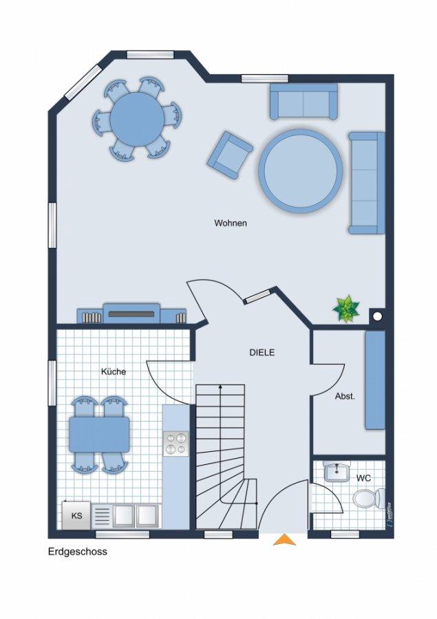 Rarität - wundervolle Doppelhaushälfte auf grünem Grundstück - Sonnenterrasse, Küche, ausbaufähig - Grundriss EG