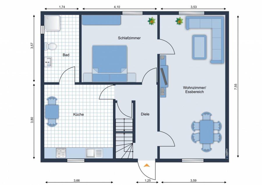 Rarität - Doppelhaushälfte in Wünsdorf l tolles Grundstück l 34 qm Ausbau-Reserve l Kamin l Carport - Grundriss EG