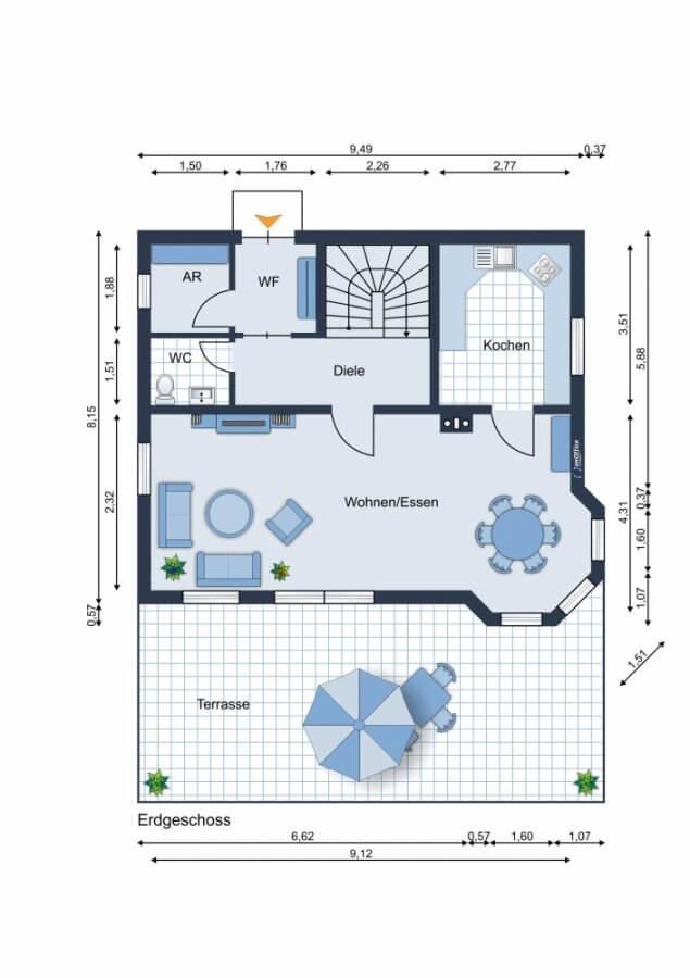 Rarität in Zeesen - Sonniges Einfamilienhaus mit Kamin, Sonnenterrasse, Küche, Garten - Ruhe, Natur - Grundriss EG