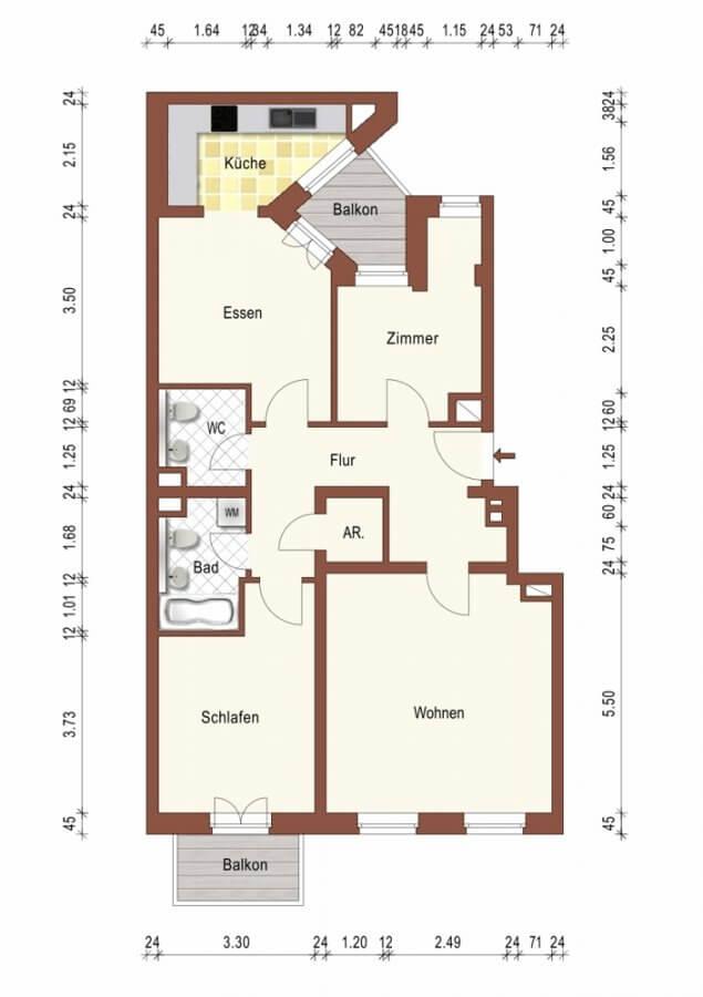 Ein Traum - sanierte 3-Zimmer-Altbau-Wohnung - 2 Balkone - 1.OG - Fahrstuhl, Küche - tolle Lage - Grundriss CvO 4 WE 4