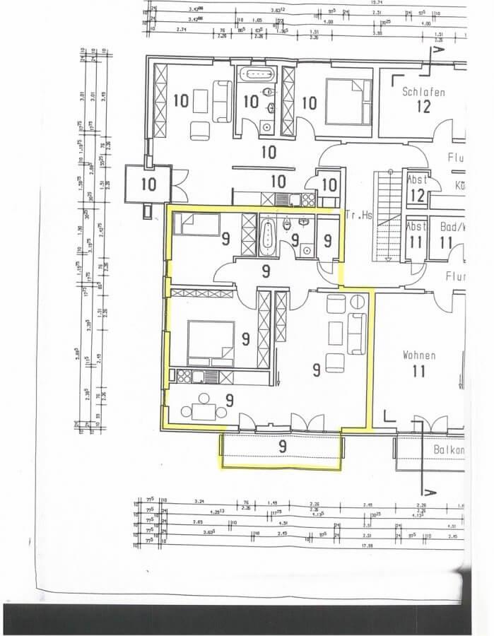 Absolut solide Kapitalanlage - vermietete Eigentumswohnung - 3-Raum-Wohnung, Balkon - Grundriss_ETW09