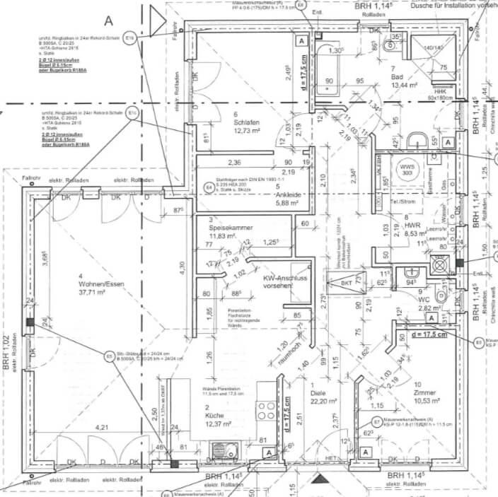 Rarität - exklusiver Bungalow - 138qm - 3 Zimmer - Neuzustand - bezugsfreie Übergabe - Küche, Garten - Grundriss