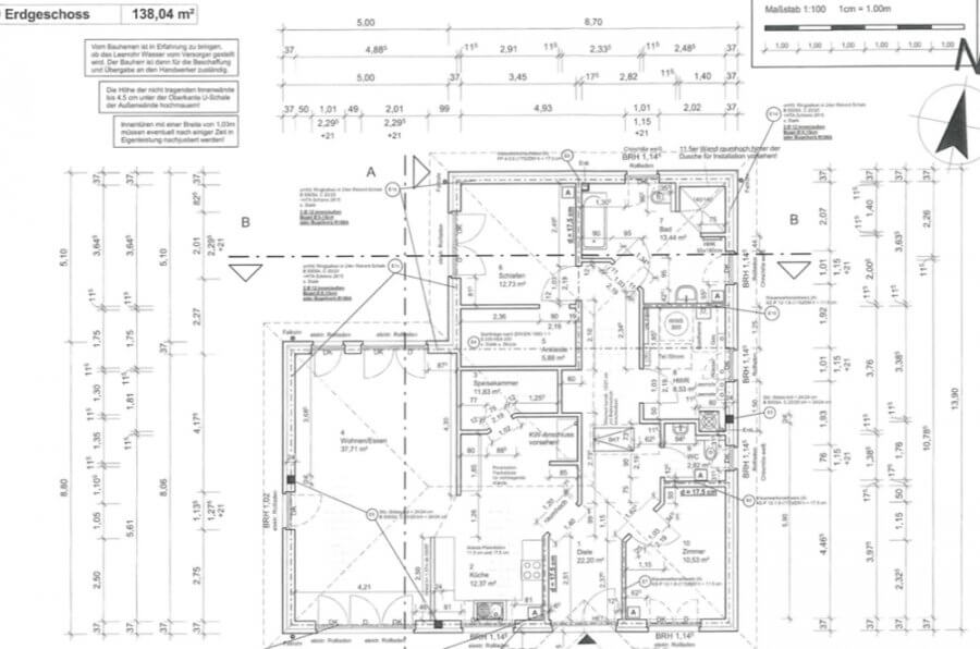 Rarität - exklusiver Bungalow - 138qm - 3 Zimmer - Neuzustand - bezugsfreie Übergabe - Küche, Garten - Grundriss bemaßt