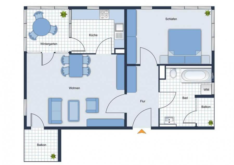 Sofort bezugsfrei - Helle 2-Raum-Wohnung mit Blick auf See - Erdgeschoss, Küche, Balkon, Stellplatz - Grundriss