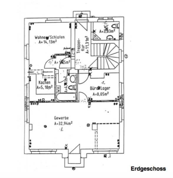 Steueroase Zossen - Exklusive Büroräume mit umfangreichem Servicepaket - 2 Zi + Schaufenster, Küche - Grundriss