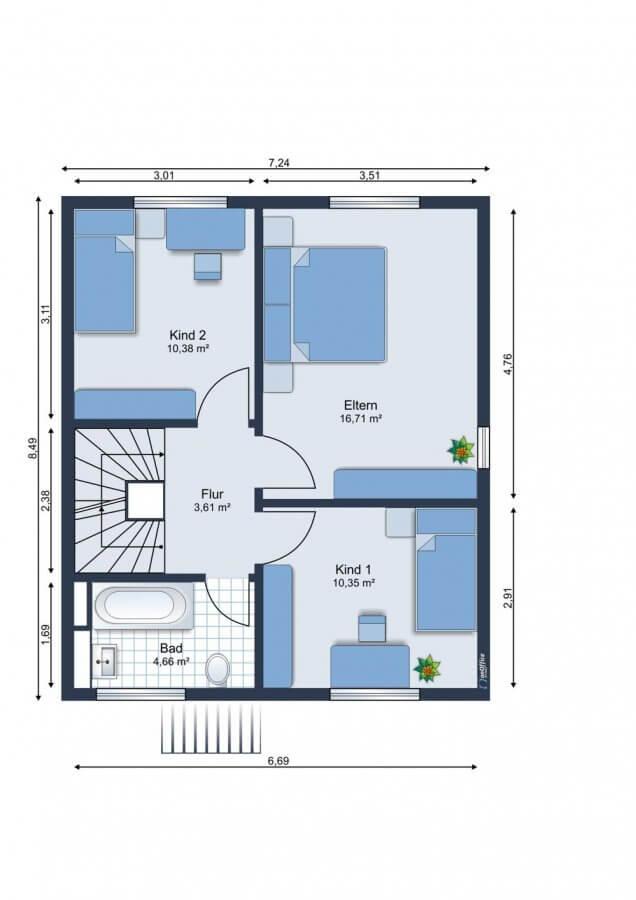 Wundervolles Reihenendhaus im Musikerviertel I 116qm I 5 Zimmer I Küche I Garten - Grundriss OG