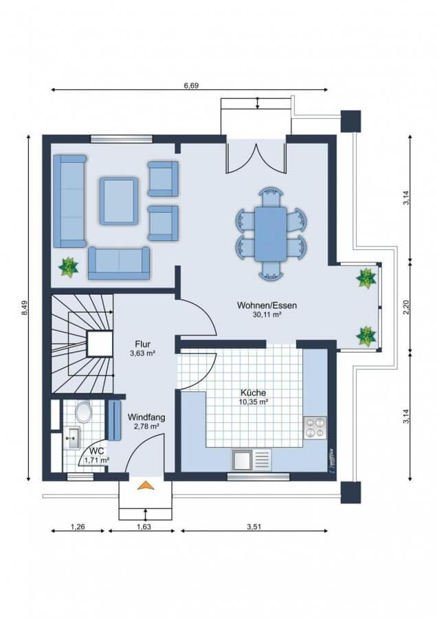 Wundervolles Reihenendhaus im Musikerviertel I 116qm I 5 Zimmer I Küche I Garten - Grundriss EG