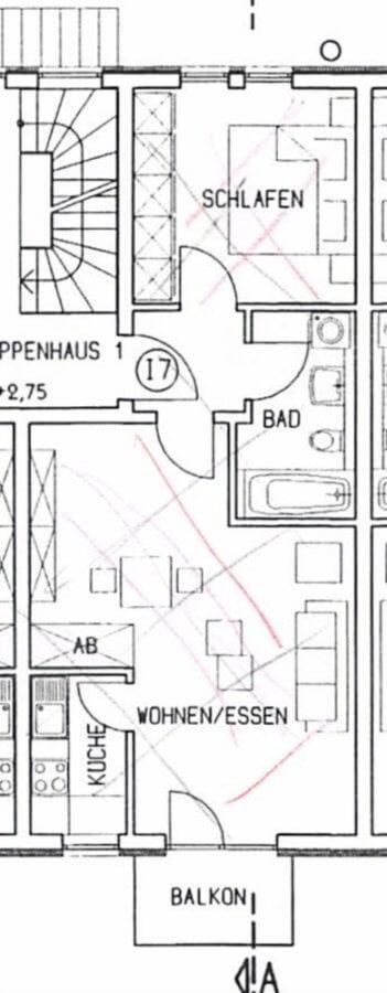 Attraktive Etagenwohnung in Top Lage I 2 Zimmer I 50qm I sonniger Balkon I Stellplatz - Grundriss