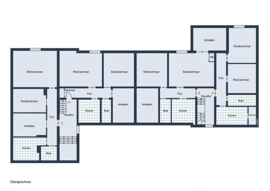 Rarität - traumhaftes Mehrfamilienhaus als Denkmal in 1A Lage, 8 WE, 553qm vermietet - großer Garten - Grundriss Obergeschoss